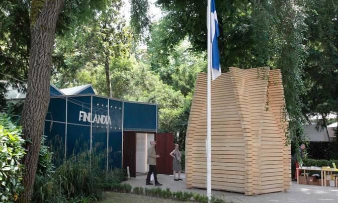 Woden Huts Display On Finish Pavilion 2014 Venice